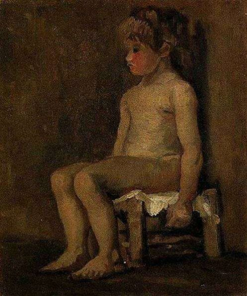 Nude study of a little seated girl 1886