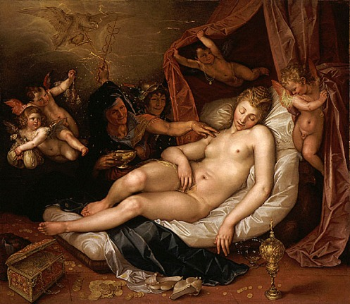 The Sleeping Danae Being Prepared to Receive Jupiter, 1603