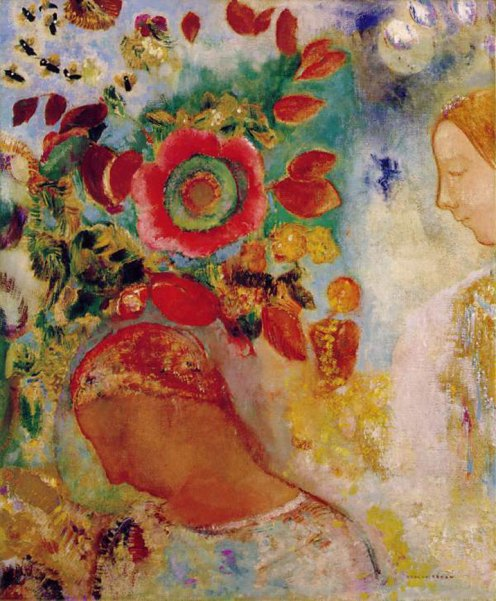 1905-12  Two Youg Girls Among Flowers -(c.