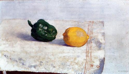 1901 Pepper and Lemon on a White Tablecloth